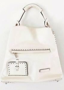 BCBG off white hobo pebble leather bag